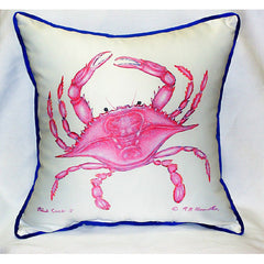 Betsy Drake Pink Crab Pillow- Indoor/Outdoor