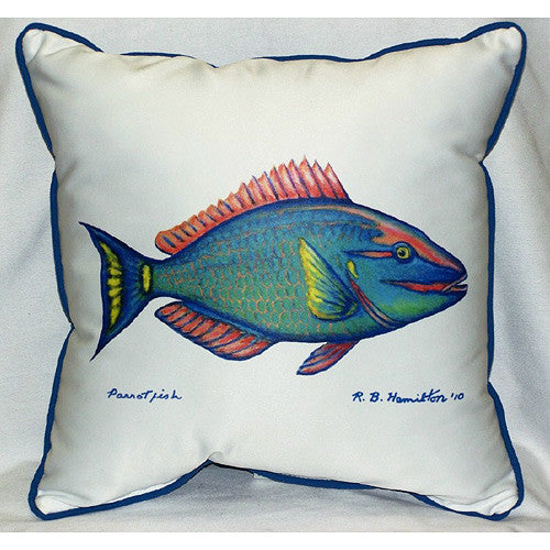Betsy Drake Parrot Fish Pillow- Indoor/Outdoor