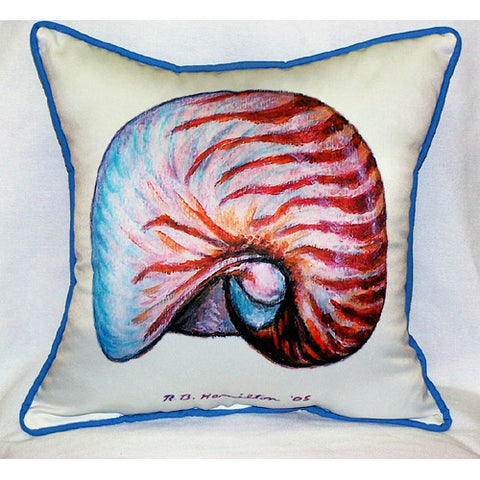 Betsy Drake Nautilus Shell Pillow- Indoor/Outdoor