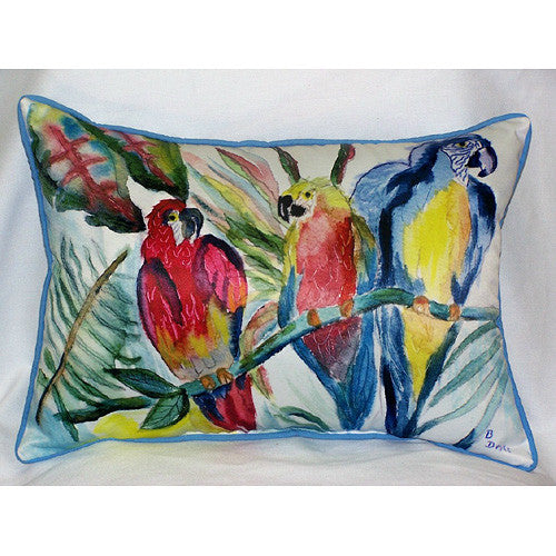 Betsy Drake Parrot Family Pillow- Indoor/Outdoor