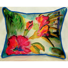 Betsy Drake Lighthouse and Floral Pillow- Indoor/Outdoor