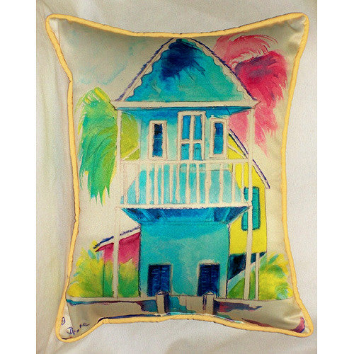 Betsy Drake West Palm Hut Blue Pillow- Indoor/Outdoor