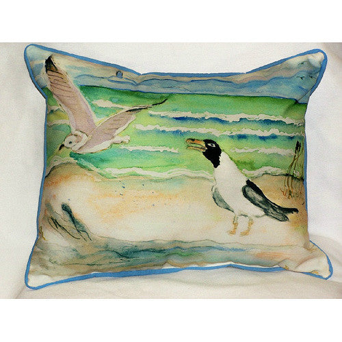 Betsy Drake Sea Gulls Pillow- Indoor/Outdoor