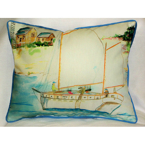 Betsy Drake Two Masted Boat Pillow- Indoor/Outdoor