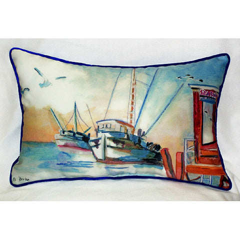 Betsy Drake Shrimp Boat Pillow- Indoor/Outdoor