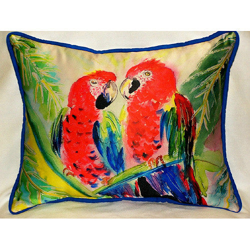 Betsy Drake Two Parrots Pillow- Indoor/Outdoor