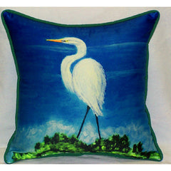 Betsy Drake Great Egret Pillow- Indoor/Outdoor