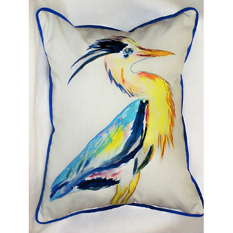 Betsy Drake Blue Heron Vertical Pillow- Indoor/Outdoor