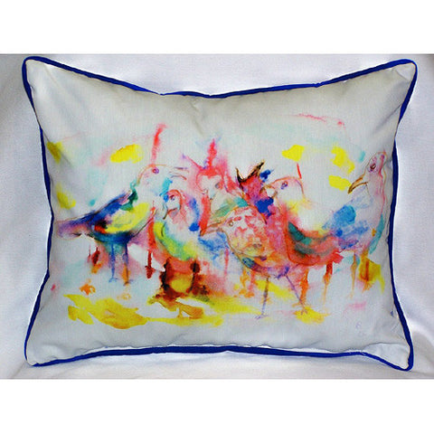 Betsy Drake Abstract Gulls Pillow- Indoor/Outdoor
