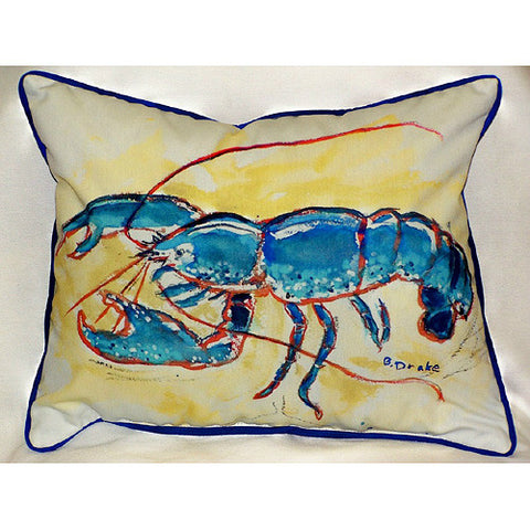 Betsy Drake Blue Lobster Pillow- Indoor/Outdoor