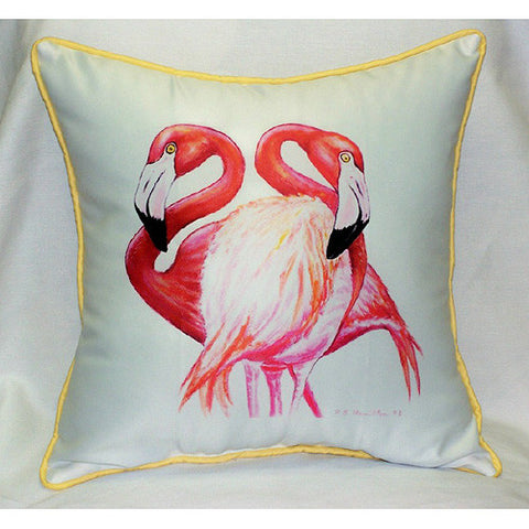Betsy Drake Two Flamingos Pillow- Indoor/Outdoor