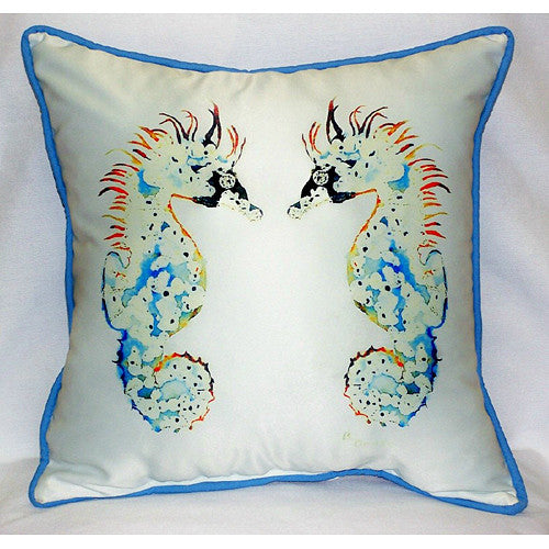 Betsy's Seahorses Pillow- Indoor/Outdoor