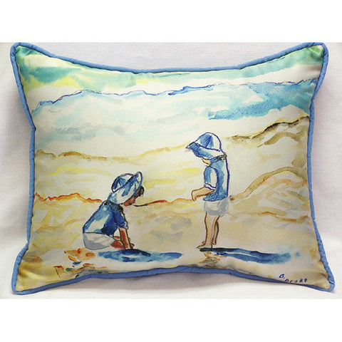 Betsy Drake Twins in Blue Pillow- Indoor/Outdoor