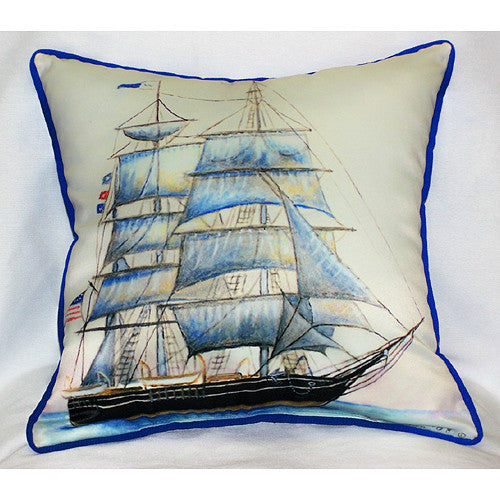 Betsy Drake Whaling Ship Pillow- Indoor/Outdoor