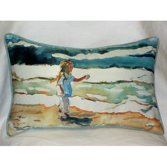 Betsy Drake Girl at Beach Pillow- Indoor/Outdoor