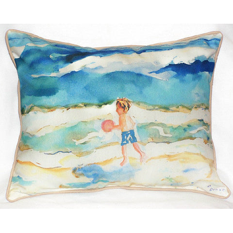 Betsy Drake Boy and Ball Pillow- Indoor/Outdoor