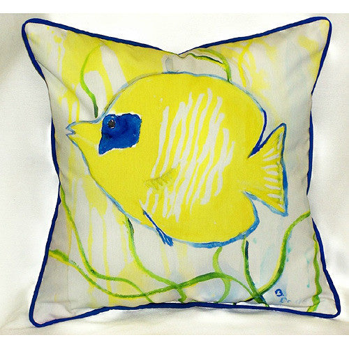 Betsy Drake Yellow Tang Pillow- Indoor/Outdoor