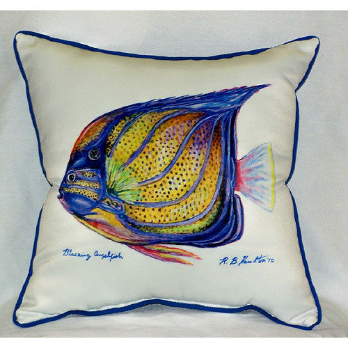 Betsy Drake Blue Ring Angelfish Pillow- Indoor/Outdoor