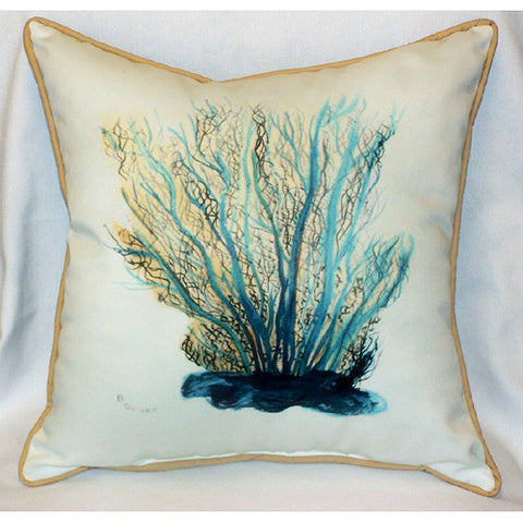Betsy Drake Blue Coral Pillow- Indoor/Outdoor