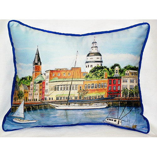 Betsy Drake Annapolis City Dock Pillow- Indoor/Outdoor