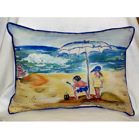 Betsy Drake Boy at Beach Pillow- Indoor/Outdoor