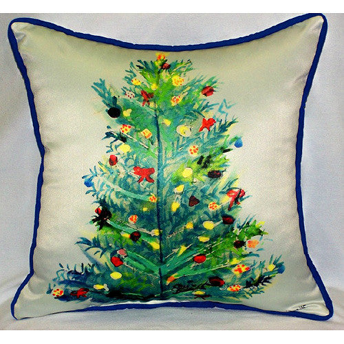 Betsy Drake Christmas Tree Outdoor Pillow