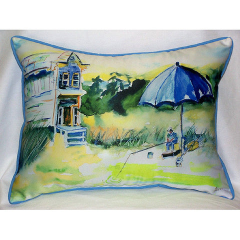 Betsy Drake Boy Fishing Pillow- Indoor/Outdoor
