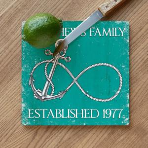 Custom Wedding Infinity Anchor Cutting Board - Aqua