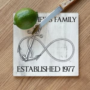 Custom Wedding Infinity Anchor Cutting Board - White