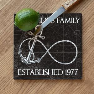 Custom Wedding Infinity Anchor Cutting Board - Black Vintage Chart