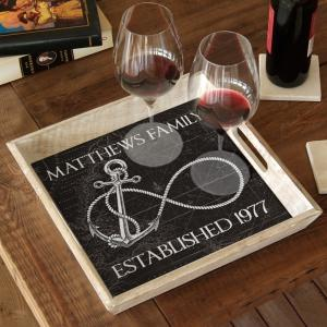Custom Wedding Infinity Anchor Serving Tray - Black Vintage Chart