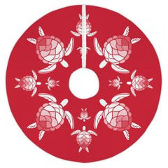 Andros Sea Turtle Red Christmas Tree Skirt