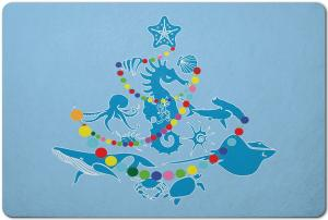 Sea Life Christmas Tree Floor Mat