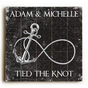 Custom Infinity Anchor Sign - Black Vintage Chart