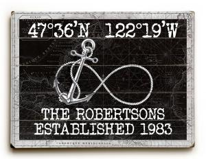 Custom Coordinates Infinity Anchor Sign - Black Vintage Chart