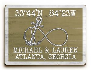 Custom Coordinates Infinity Anchor Sign - Khaki