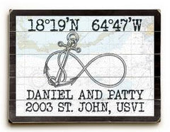 Custom Coordinates Infinity Anchor Sign - Nautical Chart