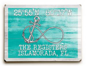 Custom Coordinates Infinity Anchor Sign - Sea Green