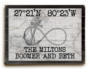 Custom Coordinates Infinity Anchor Sign - White Vintage Chart