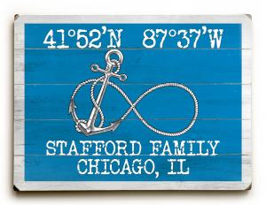 Custom Coordinates Infinity Anchor Sign - Blue