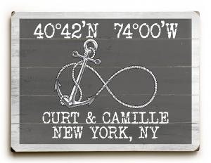 Custom Coordinates Infinity Anchor Sign - Gray