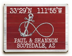 Custom Coordinates Infinity Anchor Sign - Red