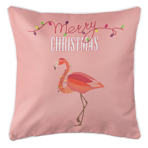 Flamingo Christmas Pillow - Blush