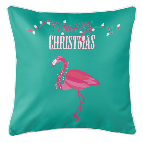Flamingo Christmas Pillow