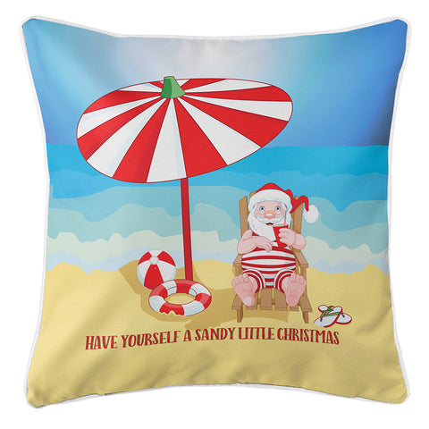 Beach Santa Christmas Pillow