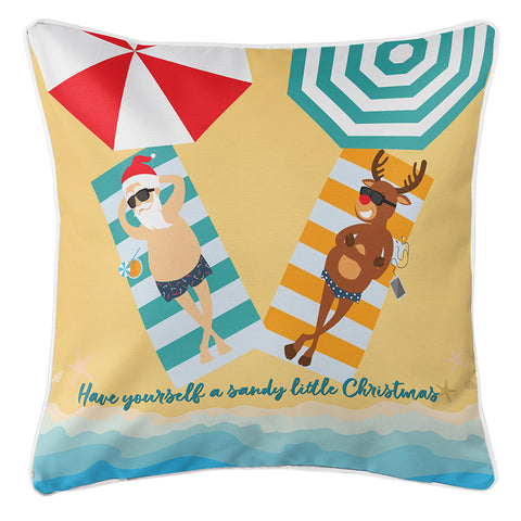 Beach Santa & Reindeer Christmas Pillow