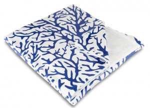 Coral Cobalt Fleece Throw Blanket
