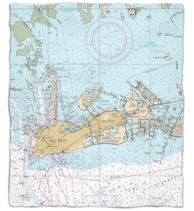 Florida: Key West, FL Nautical Chart Fleece Throw Blanket
