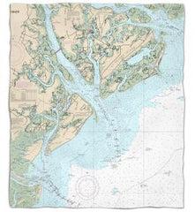South Carolina: Hilton Head Island, SC Nautical Chart Fleece Throw Blanket