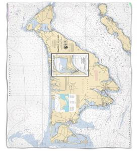 Massachusetts: Martha's Vineyard, MA Nautical Chart Fleece Throw Blanket